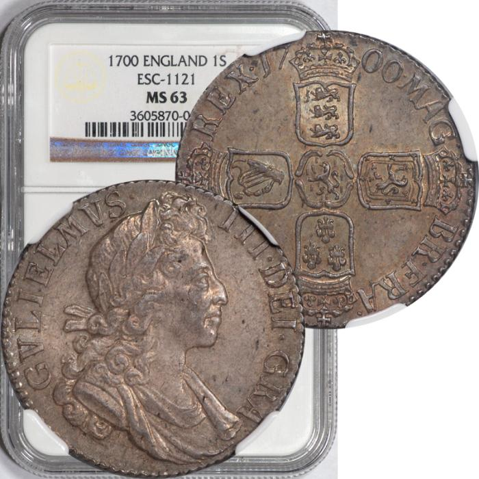 World Coins - Great Britain 1700 William III Silver Shilling NGC MS-63