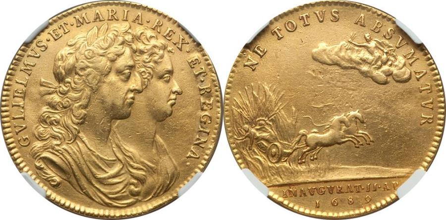 World Coins - Great Britain 1689 William & Mary gold Coronation Medal NGC AU Details RARE!!
