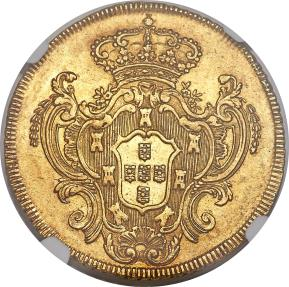 World Coins - Brazil, 1782-R GOLD 6400 Reis NGC MS-62 One of two highest graded.