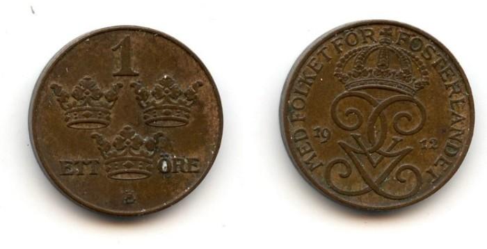 World Coins - Sweden, 1 Ore, 1912, UNC