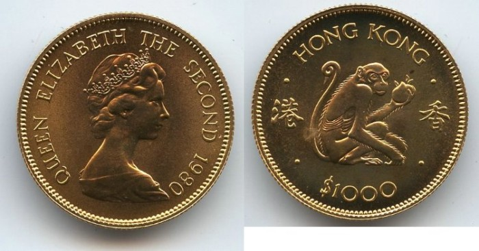 World Coins - Hong Kong,GOLD 1000 Dollars,1980, Year of The Monkey, Original Box + Certificate Of Authenticity