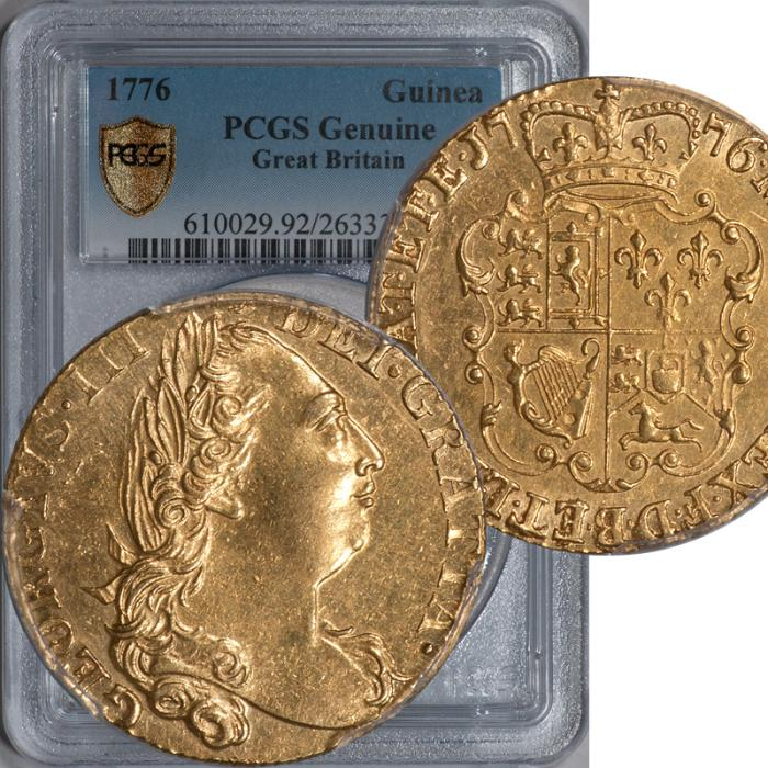 World Coins - Great Britain 1776 George III gold Guinea PCGS Geniune