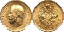World Coins - Russia 1911-ЭБ Nicholas II Gold 10 Roubles NGC MS-62