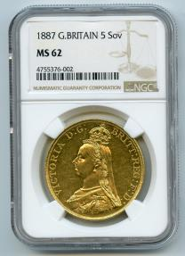 World Coins - Great Britain 1887 Victoria Gold 5 Pounds / Sovereigns NGC MS-62