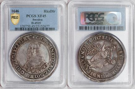 World Coins - Sweden 1646 Christina Riksdaler PCGS XF-45 Great Portrait!!