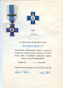 World Coins - Finland,Blue Cross for the Civil Guard Veterans of the War of Independence, Winter War and Continuation War, with documents