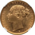 World Coins - Australia 1886-M Victoria gold Sovereign St. George NGC MS-62