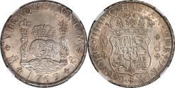 World Coins - Mexico 1769 MO-MF Charles III Pillar 8 Reales NGC MS-62
