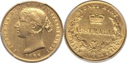 World Coins - Australia 1866 Victoria Gold Sovereign PCGS AU-50