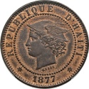 World Coins - Haiti 1877 IB-CT 20 Republic Copper Pattern 20 Centimes SP-62 Red Brown RARE!!