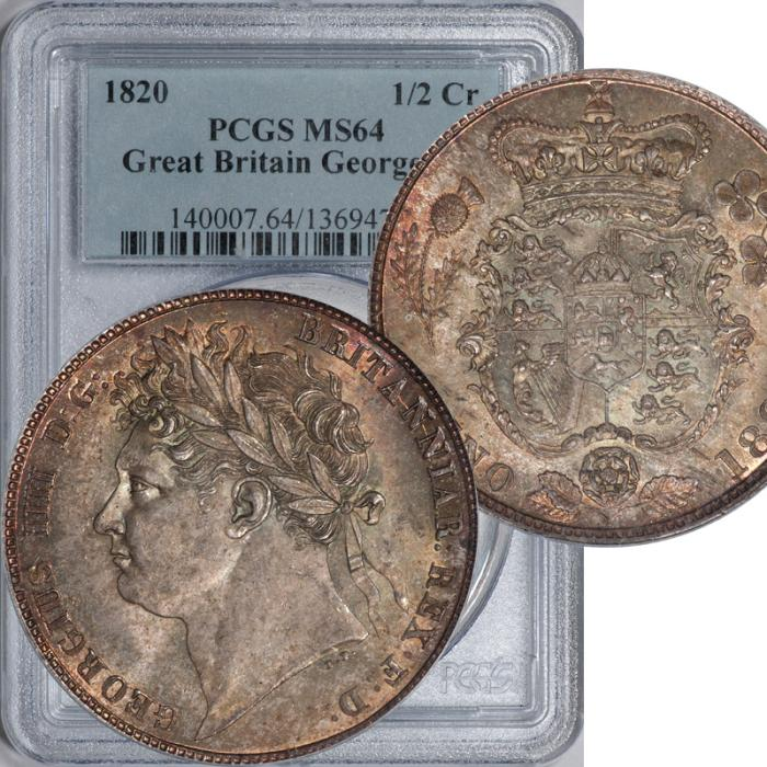 World Coins - Great Britain 1820 George IV Colorful Half Crown PCGS MS-64