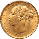 World Coins - Australia 1879-M Victoria Gold Sovereign St. George PCGC MS-62 Scarce in Mint State.