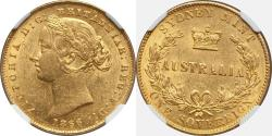 World Coins - Australia 1866 Victoria Gold Sovereign Sydney NGC MS-61 SCARCE!!