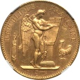 World Coins - France 1909-A Republic Gold 100 Francs NGC MS-63