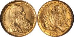 Ancient Coins - Albania 1927-V gold 20 Franga PCGS MS-66 RARE GRADE!! OLD SLAB!! MINTAGE - 5053!!