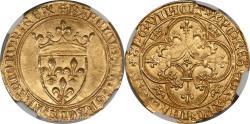 World Coins - France Charles VI (1389-1422) Gold Ecu d'Or NGC MS-65
