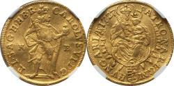 World Coins - Hungary 1727-KB Karl VI Gold Ducat NGC AU-53