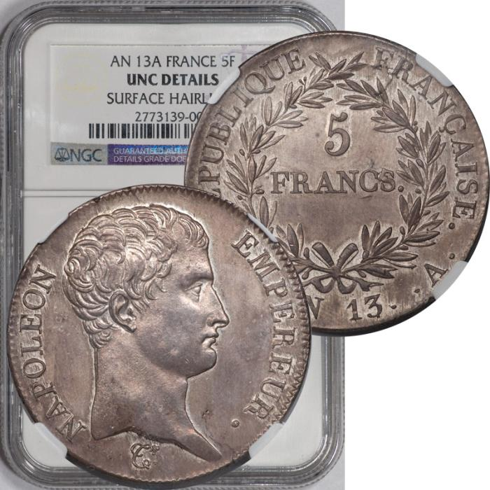 World Coins - France AN-13A (1804-05) Napoleon I 5 Silver Francs NGC Uncirculated Details