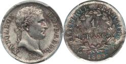 World Coins - France 1808-A Napoleon Silver Franc PCGS MS-63