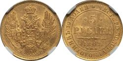World Coins - Russia 1847 СПБ-АГ Nicholas I gold 5 Roubles NGC MS-62