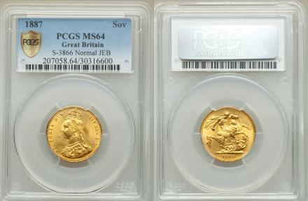 World Coins - Great Britain 1887 Victoria Gold Sovereign PCGS MS-64