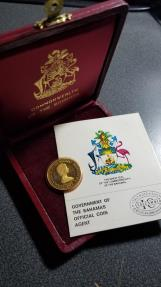 World Coins - KEY YEAR SCARCE 1975/73 Bahamas Independence Day Gold 150 Dollars PROOF with COA