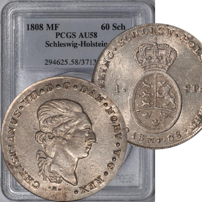 World Coins - 1808-MF Schleswig-Holstein Denmark Norway Christian VII Speciedaler (60 Shillings ) PCGS AU-58
