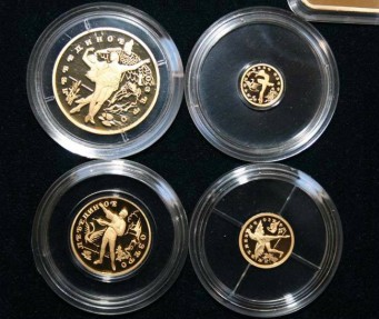 World Coins - Russia, RARE GOLD Set, 1997, Swan Lake PROOF, Original Box