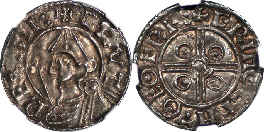 World Coins - Great Britain / England Cnut Silver Penny (c. 1024-1030) NGC AU-58