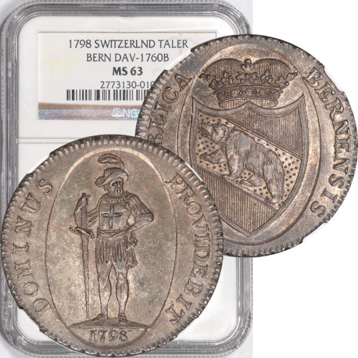 World Coins -  Switzerland 1798 Bern Silver Thaler NGC MS-63