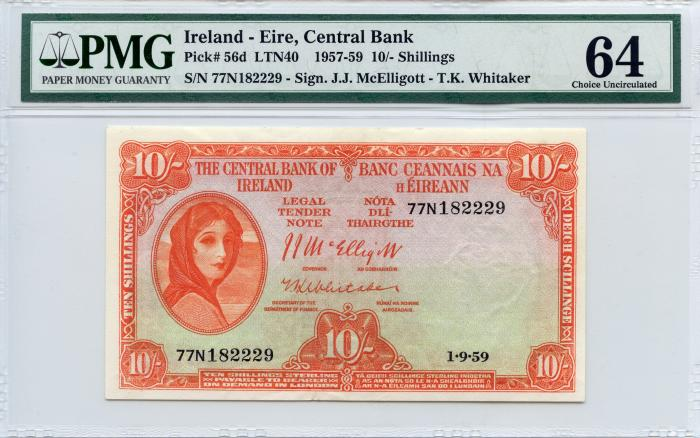 World Coins - Ireland - Eire, Central Bank 1957-59 10/- Shillings PMG 64 Choice Uncirculated