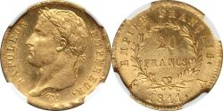 World Coins - France 1811-A Napoleon Gold 20 Francs NGC MS-64