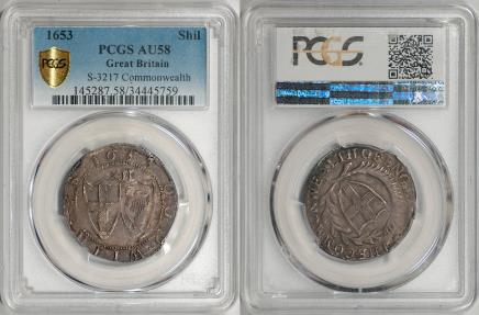 World Coins - Great Britain 1653 Commonwealth Silver Shilling PCGS AU-58 Gold Shield