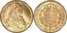 World Coins - Columbia 1819-NR JR Ferdinand VII Gold 8 Escudos NGC MS-62