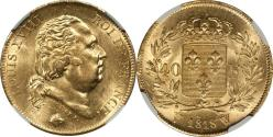 World Coins - France 1818-W Louis XVIII Gold 40 Francs NGC MS-62