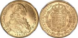 World Coins - Columbia 1819-NR JR Ferdinand VII Gold 8 Escudos NGC MS-62