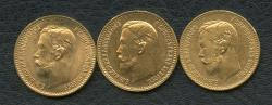 World Coins - Russia,three GOLD 5 roubles 1898,1902,1904 Nicholas II