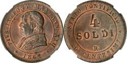 World Coins - Italy Papal States 1867-R Pius IX 4 Soldi Year XXII NGC MS-63