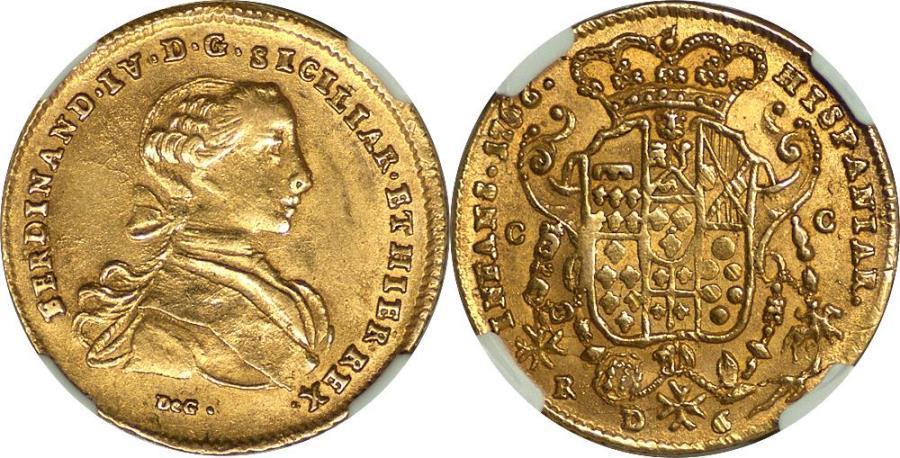 World Coins - Italy Naples & Sicily 1766-DG CC R Ferdinando IV Gold 6 Ducati NGC MS-63