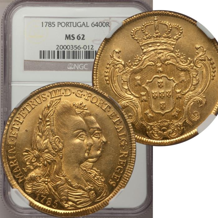 World Coins - Portugal 1785 Maria I and Pedro III Gold 6400 Reis NGC MS-62 - SUPERB STRIKE!