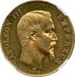 World Coins - 50 francs 1855 France Napoleon III NGC MS-61