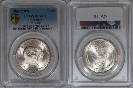World Coins - Denmark 1960-CS Frederik IX & Ingrid 5 Silver Kronen PCGS MS-66+