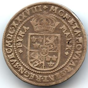 World Coins - Sweden, Christina, RARE 4 Marks, 1638