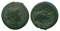 Ancient Coins - Lucania, Poseidonia. c. 218-201 BC. AE Sextans. 5.0gm. Forepart of Boar. Very Fine, Scarce.