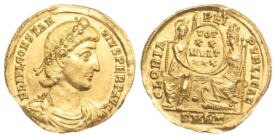 Ancient Coins - Constantius II (337-361) Gold Solidus. Nicomedia Mint. Extremely Fine. Lustrous.