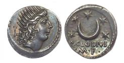 Ancient Coins - P. Clodius M.F. Turrinus, Silver Denarius. Good Extremely Fine - Virtually as Struck.