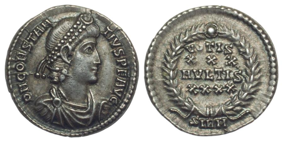 Ancient Coins - Constantius II (337-361) AR Heavy Siliqua. Sirmium. Scarce. Extremely Fine.