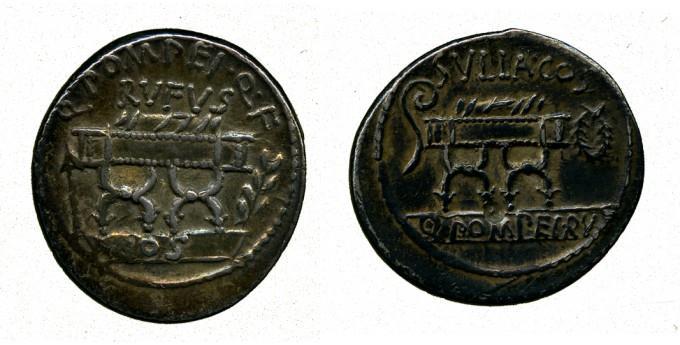 Ancient Coins - Roman Republic, Q. Pompeius Rufus, Silver Denarius