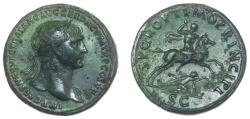 Ancient Coins - Trajan, Brass Sestertius, Extremely Fine with an Exquisite Patina.