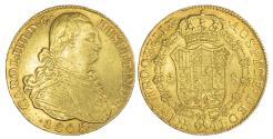 World Coins - COLUMBIA (COLONIAL), CARLOS IV (1788-1808 AD), GOLD 8 ESCUDOS, 1805